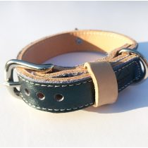 Amerikai kollekció, keskeny smaragd zöld bőr nyakörv - American collection, narrow emerald green leather collar