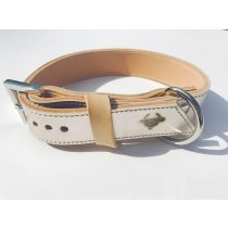 American collection, narrow light gold, silver leather collar