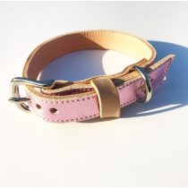 Amerikai kollekció, keskeny metál rózsaszin bőr nyakörv - American collection, narrow metallic pink leather collar