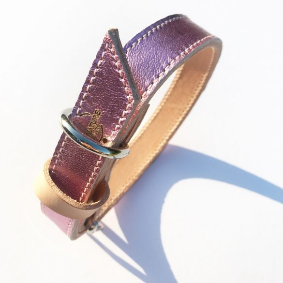 American collection, narrow metallic pink leather collar