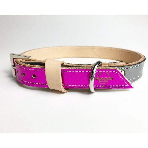 Spring collection with pink and bronze strait leather collar