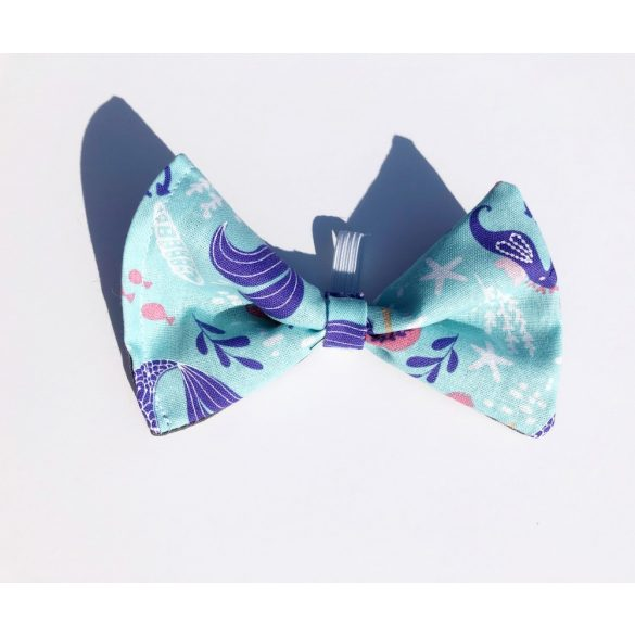 Blue mermaid fabric bow