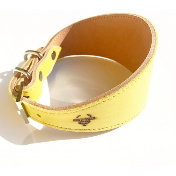 Sárga bőr agár nyakörv - yellow leather greyhound collar