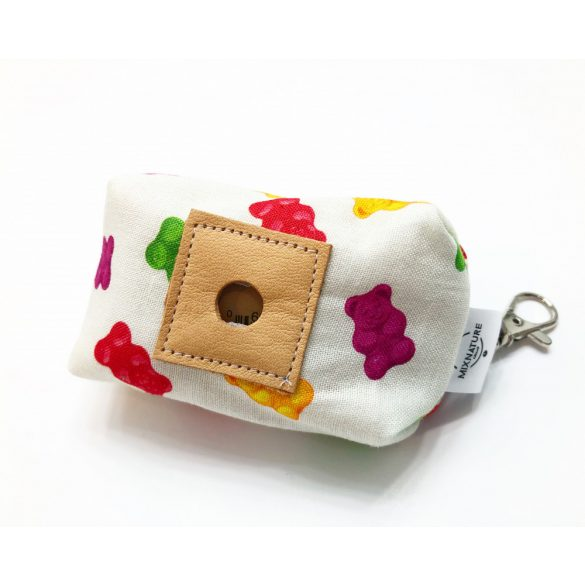 Fabric with gummy bear poop bag holder