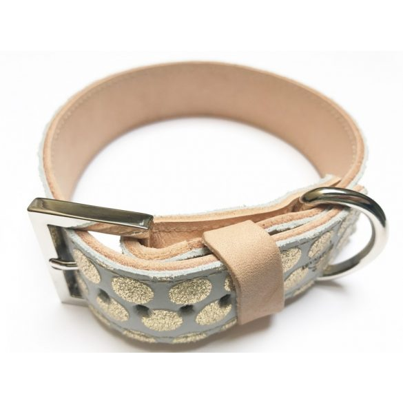 Spring collection-gold fleck wide leather collar