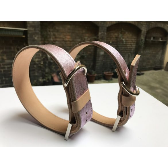 Spring collection-pink strait leather collar