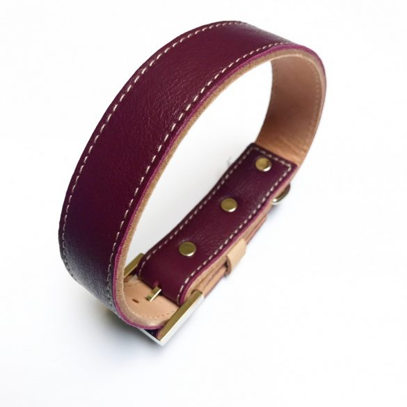Őszi kollekció bordó, széles bőr nyakörv - Autumn collection claret, wide leather collar