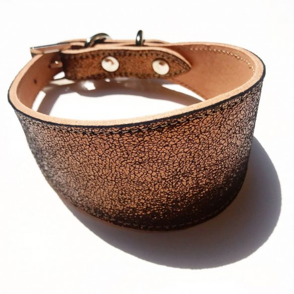 Bronz bőr agár nyakörv - bronze leather greyhound collar