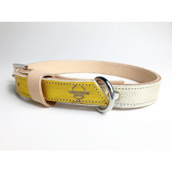 Spring collection with yellow and light gold , strait leather collar