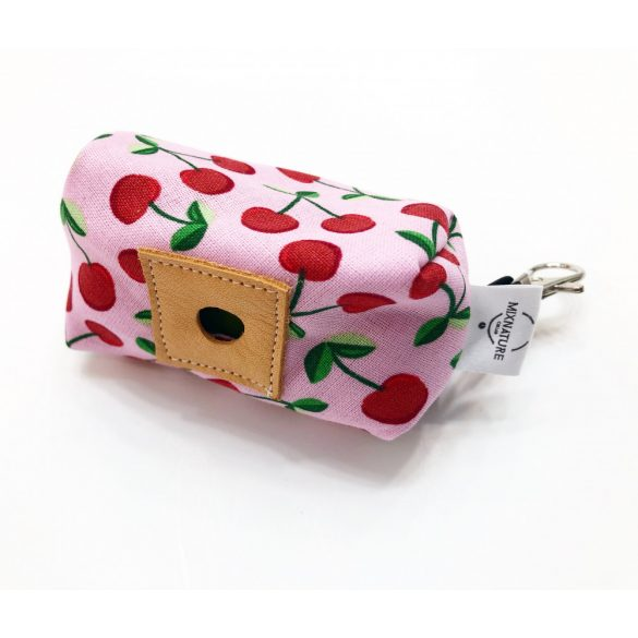 Fabric with big cherry poop bag holder