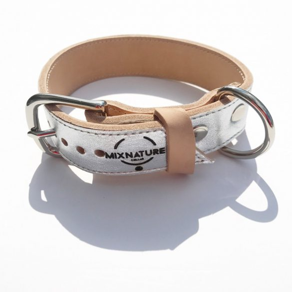 American collection, wide silver leather collar