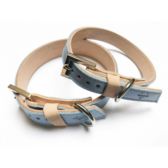 Spring collection-light blue strait leather collar
