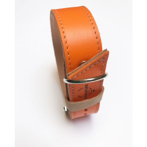 Őszi kollekció narancssárga, széles bőr nyakörv, Autumn collection orange, wide leather collar