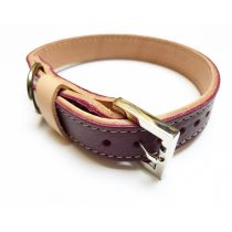 Őszi kollekció bordó, keskeny bőr nyakörv -  Autumn collection claret, strait leather collar