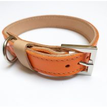 Őszi kollekció narancssárga, keskeny bőr nyakörv, Autumn collection orange, strait leather collar