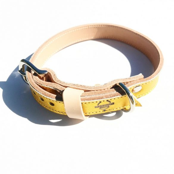 Amerikai kollekció, keskeny sárga arany bőr nyakörv - American collection, narrow yellow gold leather collar