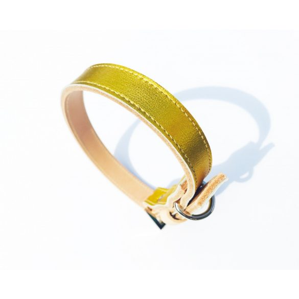American collection, narrow yellow gold leather collar
