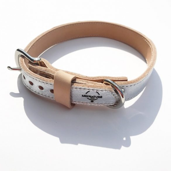 Amerikai kollekció, keskeny ezüst bőr nyakörv - American collection, narrow silver leather collar