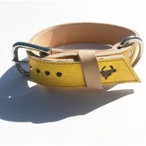 American collection, wide yellow gold leather collar