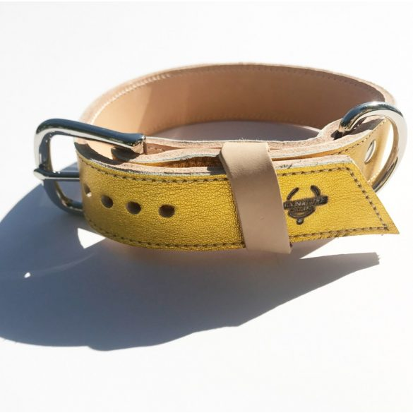 Amerikai kollekció, széles sárga arany bőr nyakörv - American collection, wide yellow gold leather collar