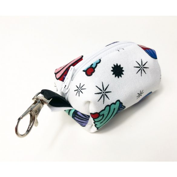 Fabric white muffin poop bag holder