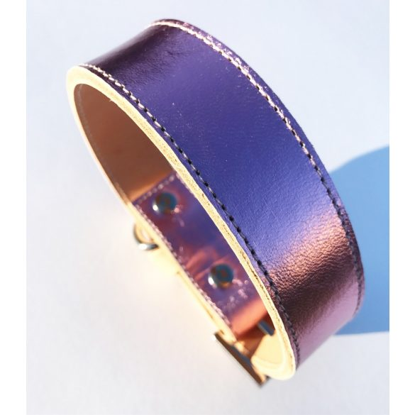 American collection, wide metallic pink leather collar