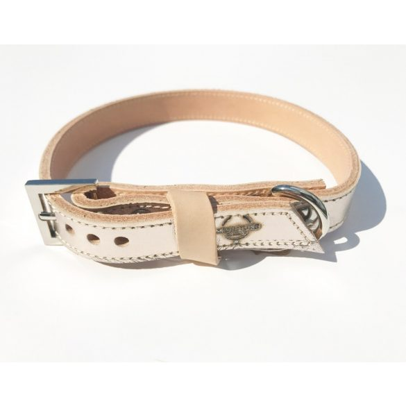 Amerikai kollekció, keskeny világos pezsgő bőr nyakörv - American collection, narrow light champagne leather collar