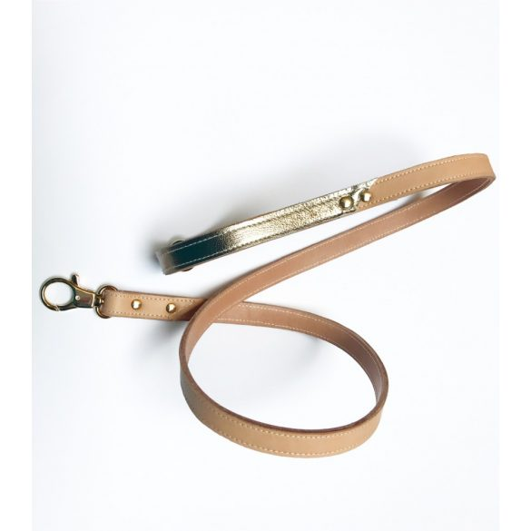 Téli kollekció-arany bőr póráz, Winter collection-gold leather leash