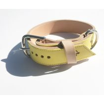American collection, wide yellow leather collar