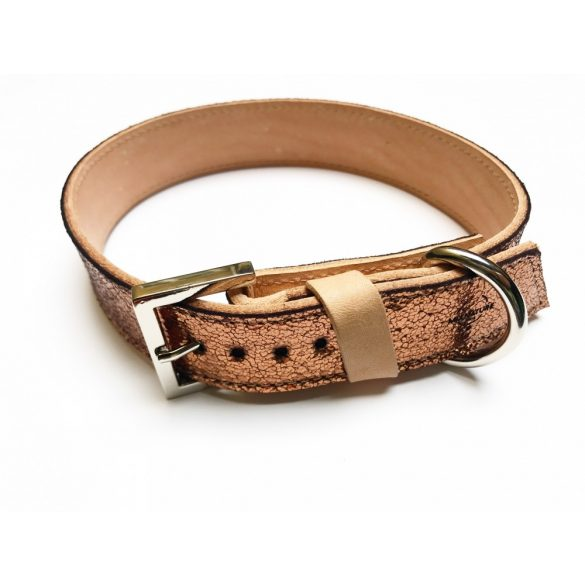 Spring collection-bronze wide leather collar