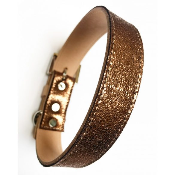 Tavaszi kollekció-Bronz széles bőr nyakörv, Spring collection-bronze wide leather collar