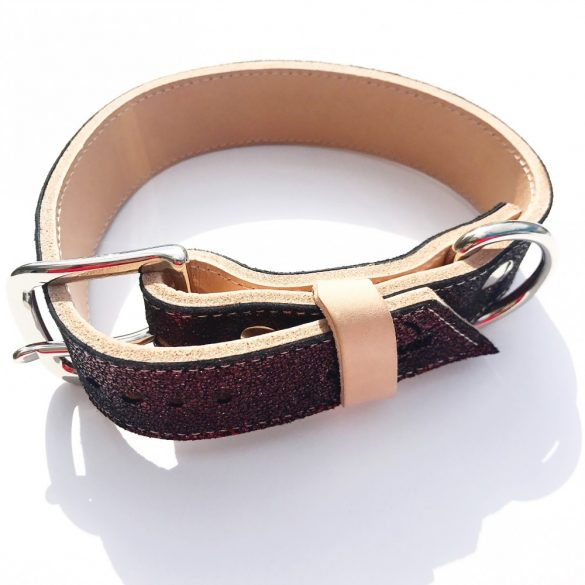 Amerikai kollekció, széles bordó bőr nyakörv - American collection, wide maroon leather collar