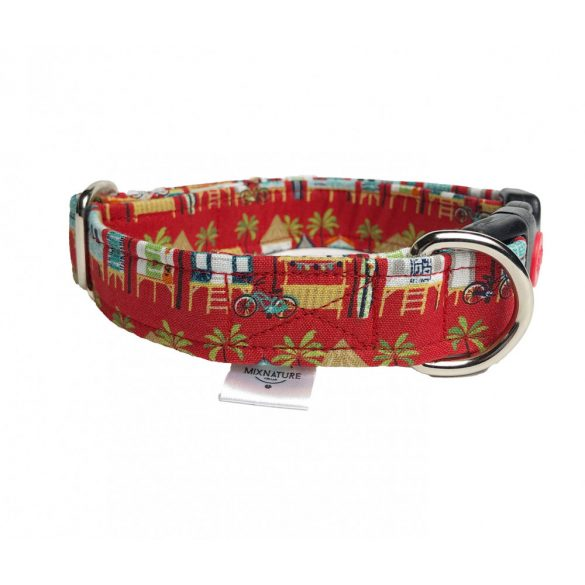 Adjustable fabric collar with Hawaii house on brown with safe buckle