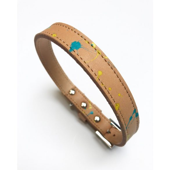 Őszi kollekció fröcsögtetett, keskeny bőr nyakörv, Autumn collection splashed, strait leather collar