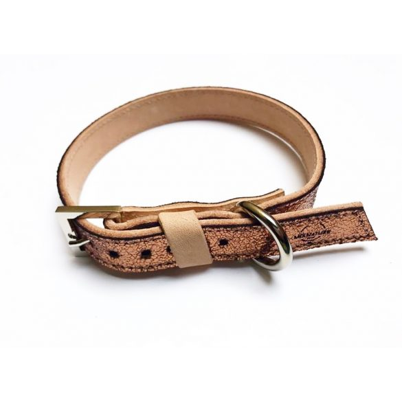 Tavaszi kollekció-Bronz keskeny bőr nyakörv, Spring collection-bronze strait leather collar